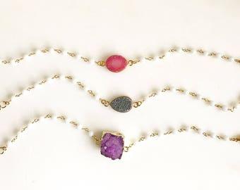 Druzy Bracelets in Gold. Colorful Druzy Bracelets. Raw Crystal Bracelet. Statement Jewelry. Holiday Jewelry. Gift for Her. Christmas Gift.