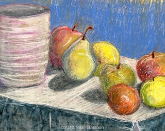 "Apples on Periwinkle: original still life oil pastel on paper 12""x18"""