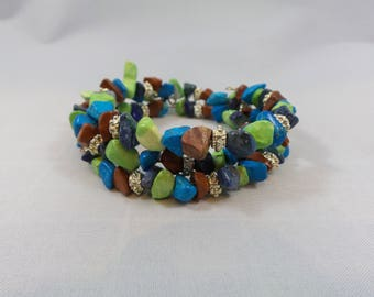 Earth Tone Memory Wire Bracelet - Green, Brown, Blue, Teal, Turquoise Stone Beads