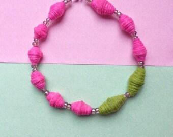 Felt necklace, felt bead necklace, pink felt necklace, felt jewellery, neon necklace, bright pink necklace, quirky necklace, quirky jewelry