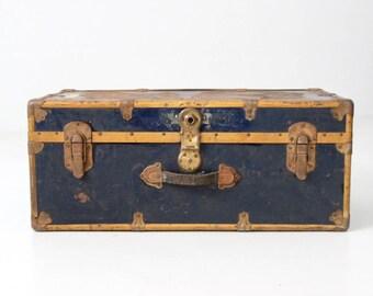 antique metal trunk, blue metal travel trunk