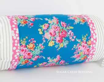 CHRISTIE FLORAL Bolster Pillow  - Vintage Style Bedding, Boho Chic Pillows, Farmhouse Pillows, Floral Pillows, Cottage Style Pillows