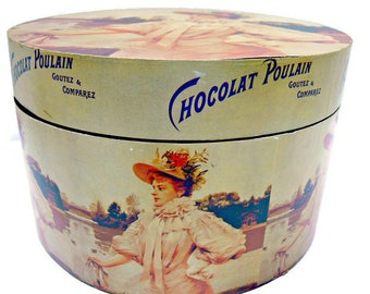 French Chocolate Box with Lid, Vintage Chocolat Poulain Wooden Container, Made in France