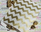 GLAM SALE 50 Gold Chevron Party Bags, Gold Chevron Wedding Favor Bags, Holiday Gift Bags, Wedding Candy Bags, Gold Treat Bags, Gold Candy Ba