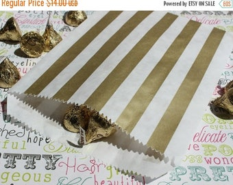 GLAMSALE 100 Gold Stripe Party Favor Bags, Gold Wedding Candy Bags, Gold Popcorn Bags, Gold Donut Bags, Gold Stripe Snack Bags