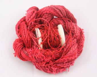 Poppy Red Burgundy Beaded Embroidery thread with seed beads sequins hand dyed fibre art ribbon weaving quilting embellishment bead yarn