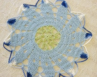 Vintage Crochet Doily Multi colors,Shades of Blues & Greens vintage Doily