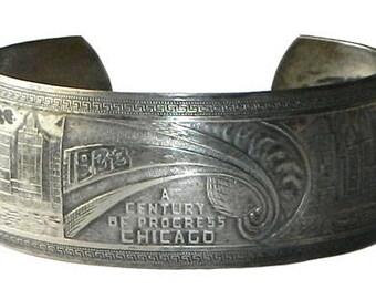 Vintage Art Deco Cuff Bracelet 1933 Chicago Expo Worlds Fair Souvenir