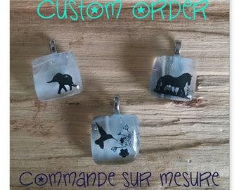 Custom fused glass pendant