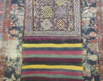 Vintage Sumak Handwoven Oriental Rug Bag Face Flat Weave Kilim Great Colors and Tribal Design