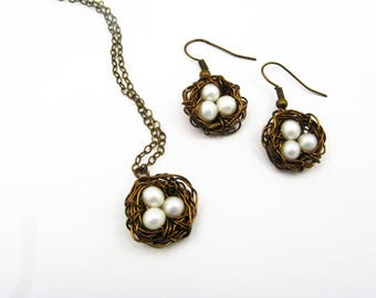 Bird Nest Pendant and Earring Set - Genuine Pearls, Antique Brass