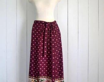 34% Off Sale - Vintage Maxi Skirt - 1970s Wrap Skirt - Plum Purple Mini Floral Print Skirt - Hippie Boho Floor Length Skirt - One Size - S M