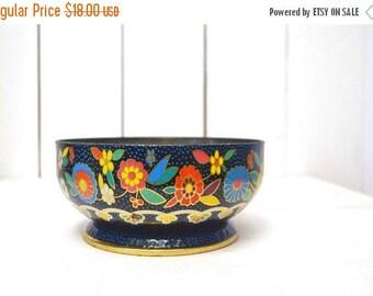 FIRE SALE 25% Off Floral Tin Bowl 1960s Mod Dutch Style Vintage Metal Pedestal Display Bowl