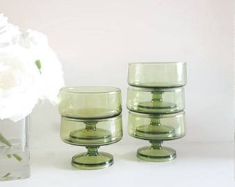 ON-SALE Green Sorbet Set {5} Glass Footed Bowl- Pedestal Bowls, Gorgeous Collectibles
