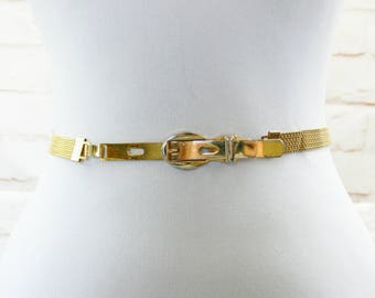"Vintage 70s Woven Metal Gold Chain Disco Skinny Belt 27-28"" S M Clearance Sale"