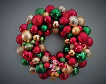 Christmas Wreath MICKEY MOUSE Wreath DISNEY Wreath Red Gold Green Christmas Ornament Wreath