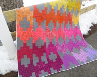 Instant Download - PDF Quilt Pattern - Peaks & Valleys- Easy Jelly Roll Quilt Pattern