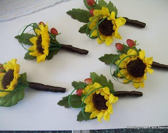 Sunflower Boutonnieres - Fall Boutonnieres - Sunflower Button Holes - Woodsey Boutonniere - Fall Wedding Flowers - Bridal Flower Sets