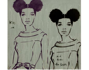 Fashion Illustration 10x10 Vintage Fashion Art Couture Print Afto Puff Black Woman Painting Afro Punk Graffiti on Canvas Street Art Canvas
