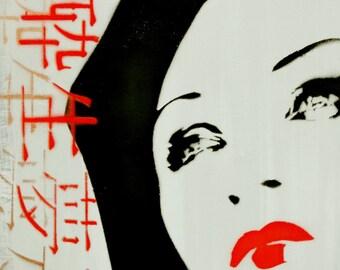 Japanese Art Geisha Painting 10 x 10 Original Portrait Artwork on Canvas Stencil Spray Paint Acrylic Paint Graffiti Pop Art Inspired