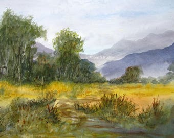 Watercolor Painting, archival print, watercolor landscape painting, mountain view, country landscape, grassy field, nature art, scenic view.