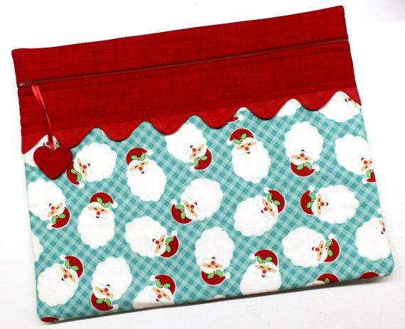 Aqua Santa Cross Stitch, Embroidery Project Bag
