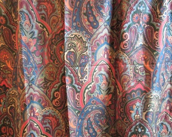 Vintage Shower Curtain RICH PAISLEY By Mimi Design 1970s - 80s Screen Printed