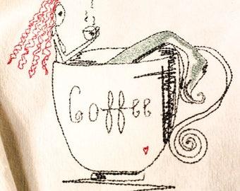 Redhead Mermaid In Coffee Cup Dish Towel  Flour Sack Dish Cloth