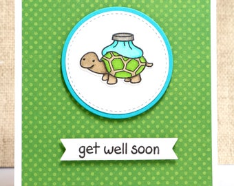 Get Well Soon Card- Get Well Card- Turtle Card- Cute Get Well Card