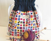 Sock Knitting Project Bag, Drawstring, Fully Lined, Nautical Flags