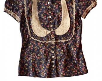 asymmetrical floral Peter Pan collar blouse