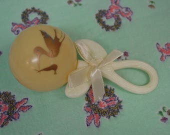 Vintage Baby Rattle Celluloid with Stork and Ribbon Bow So Cute