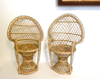 Vintage miniature peacock wicker chairs, pair of doll chairs