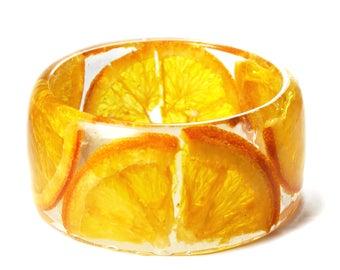 Orange Slices Bracelet - Real Flower Jewelry- Flower Jewelry- Orange Fruit- -Resin Jewelry- Fruit Jewelry- Modern Flower Child