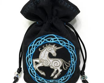 CELTIC UNICORN - Faux Suede Drawstring Pouch with Machine Embroidery for Dice, Runes, Tarot Cards, LARP