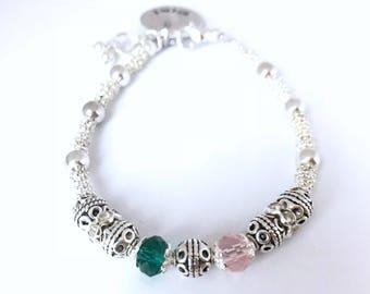 Mothers silver plated Birthstone Bracelet, Mothers charm bracelet (B103)