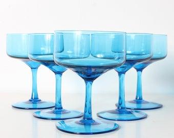 Vintage Blue Champagne Glasses/ Blue Glasses/ Teal Glasses Set of 5