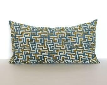 Lumbar Pillow Cover Teal Gold Pillow Geometric Upholstery Fabric Decorative Pillow Oblong Throw Pillow Cover 12x24 12x21 12x18 12x16 10x20