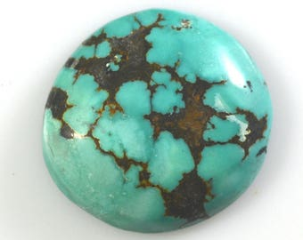Kingman Spiderweb Natural Turquoise Freeform Cabochon/ 24.65 Carats/ 24.8x23.4mm/ Not Backed