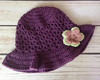 Girl Sunhat,Purple Sunhat,Sun Bonnet,Little Girl Summer Hat,Child Sunhat, Floppy Brim Hat, Cotton Sunhat, Flower Hat, Floppy Hat, Summer Hat