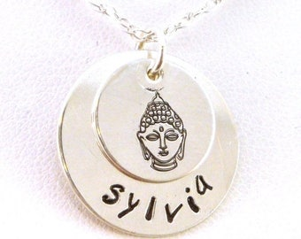 SALE CIJ2017 Personalized Buddha Name Necklace - Two Disk Layered Necklace - Sterling Silver Name Necklace
