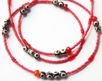 Tribal Agate Waist Beads, Red, Black And White Waist Beads, Sophisticated Graphic Waist Beads , African Waist Beads, African Jewelry
