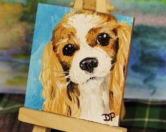 Miniature Blenheim Cavalier King Charles Spaniel Dog Portrait Oil Painting - Small Canvas Art - Magnet