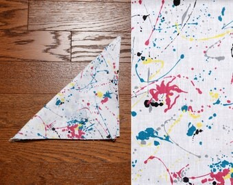 vintage 80s bandana paint splatter bandanna 1980 white red blue yellow headband kerchief Jackson Pollock abstract Made in USA