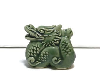 Vintage Ceramic Dragon Toothpick Holder, green glaze, made in Japan, c1960