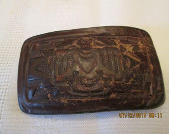Vintage Hand Tooled Leather Belt Buckle, Mans Belt Buckle, Phoenix Belt buckle