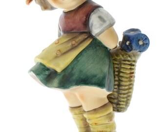 Goebel Hummel Figurine #377 Bashful Little Girl with Flowers TMK 5