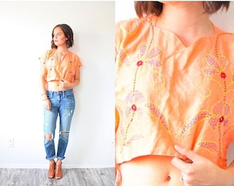 20% OFF JULY 4th SALE Vintage Xs orange cropped top // boho top // aztec navajo blouse top // cropped shirt // cut off tank top // floral bo