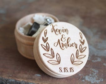 Wreath Ring Box Rustic Wedding Ring Box With Names and Date