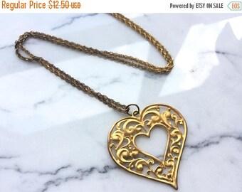 SUMMER SALE Vintage Large Ornate Filigree Gold Tone Heart Pendant Necklace
